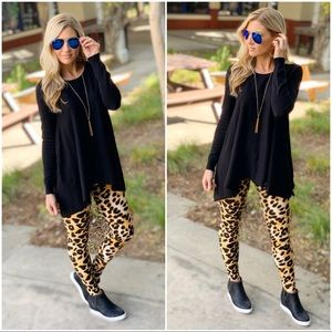 PLUS Camel Leopard Print Leggings